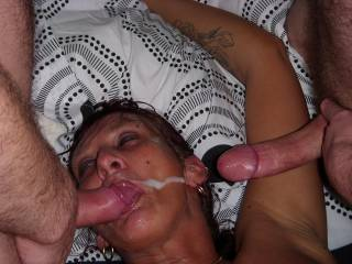 master & friend cum for me, swallowed 1 load 2nd was a bit messy but i luv the feel of a hot sticky face full