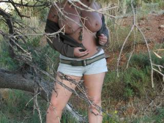 flashing in the woods out on a hike just had to be naughty