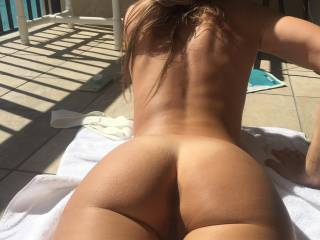 Nude tanning on the balcony