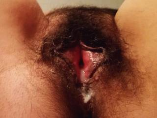 Yesterday fucking session. She pushed back cum outside her whore hole to get more cum! Add yours and tribute on this picture.