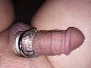 Just enjoying my cock and wish I could suck on it