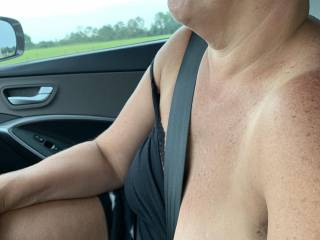 Wife showing those great tits to guys driving.