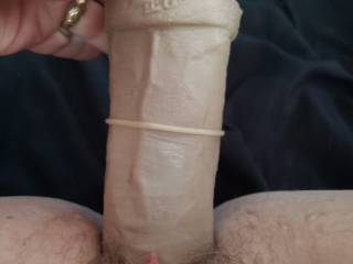 Hubby loves to get pics of me stretching my pussy with a big dildo. How hard do you think he got at work after these?