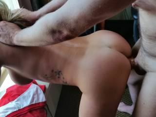 Bent over the air conditioner while my new friend fucks me from behind.  I have some video to where he stops and makes me squirt a few times during the fucking!!!