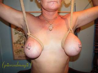 what a kinky shot!!! I love it, can I suck your tits for a good while???