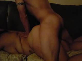 Antonio playing with a friends sexy wife on a friends couch. I love watching my hubby fuck another woman good & hard.