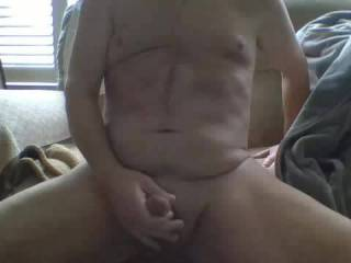 My morning cum while sitting on the couch. Got horny looking at all the pics and videos on ZG.