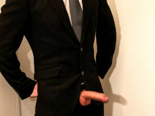 Just me in a suit having my hard cock out …