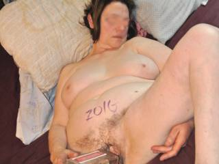 Fuckin\' a huge half gallon booze bottle....Sometimes she\'ll just grab anything when gets horny!