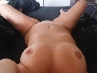 Hangin\' my head over edge of bed...Waiting for you to fuck my mouth!