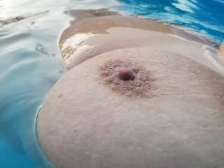 My girl in the pool.  It\'s a little cold as you can tell