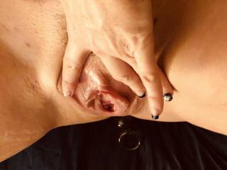 My pussy just after cumming... all swelled up and wet. Would you like to suck it dry for me or make me wetter??