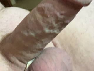 Hard cock, about to jerk off.