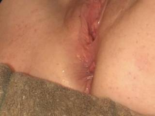 my wet pussy from fucking and a used asshole.