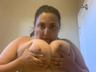 Licking my big tits for hubby