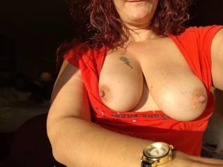 My titties love the way the sun feels on them...