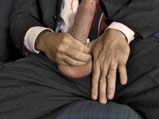 I have to agree with the others...their is something about a sexy man pulling his hot cock out while dressed in a suit that just screams hot!!!!