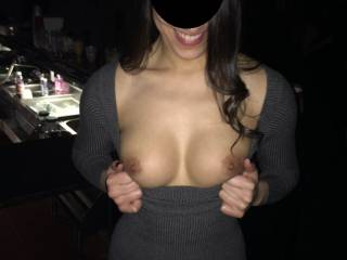 flashing my tits at a night club for some fun ;)