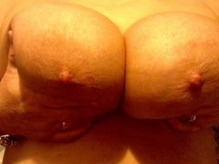 My sexy wife showing me just how big her boobs are and it's now time to suck her hard nipples mmmmm