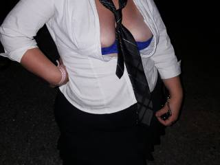 Wife's sexy school girl outfit at bike week showing a little more of her sexy bra and tits
