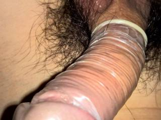 Because my cock produces a lot of precum somethimes I put him a condom on so I don't have to worry about that.