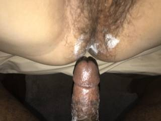 Using the wife's hairy pussy