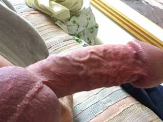 Just a snapshot from a very horny phone chat with a close friend. Coming onto full hardness, veins prominent and head swollen. How can I please you?