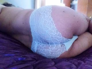 Ass in lace,  teasing a friend 😏