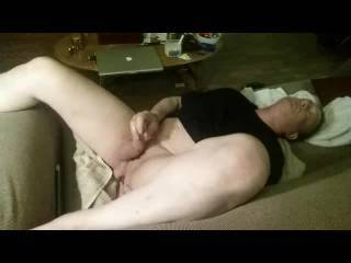 I was really high and wasn\'t sure if I could get it up but I was horny as hell and my girl friend had gone to her folks so I put a vibrator in my ass and lay on the couch to see what happened. What happened is that I became feverishly horny came everywher