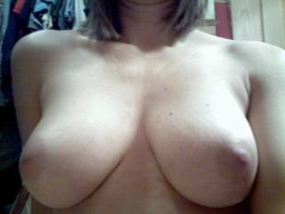 My wife sent me this text message. WoW, was I surprised.  This is the best shot of her tits I have ever seen!  God Damn. 