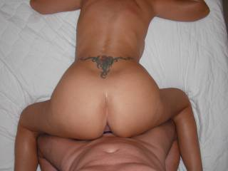 Just us fucking in the bedroom at home. My favourite position to be fucked deep and hard, by his lovely smooth thick cock.