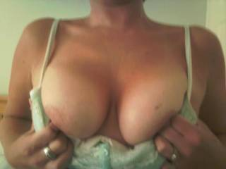 Love your big, sexy tits ... I  want to cum all over them .. rubbing my hot, stick spunk into your nipples ...
