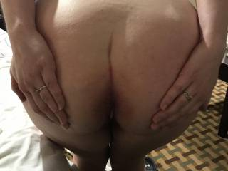 Kiki spreading her asshole so I can lube it up and play with it before stuffing my fat cock in her