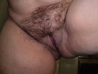 Hot! Your hairy cunt with shaved lips makes me hard!