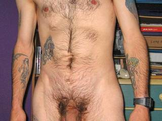 Nice hot body, nice tats, and great hairy cock and bod! mmmmm  post more pix