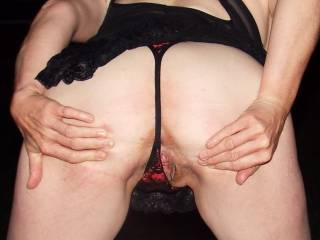 Oh! You lucky man! I want to rim that sweet little hole until the come is dribbling down her thighs...xx