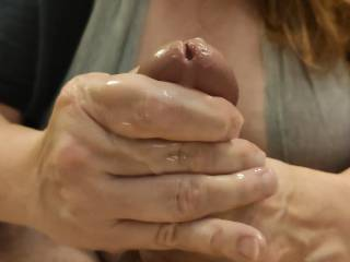 Here it cums! Isn't wonderful when you get your man to cum all over your hands? Don't you love it when your fingers are nice and sticky with that wonderful cum? Please see my video to see how I milked this cock to my heart's delight.