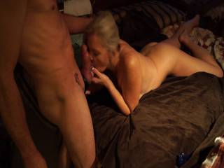 Oh My god! Damn she is loving on that cock! I would love to be licking her clit and tongue fucking her ass while she is doing it! Making her cum just when she swallows his load!