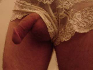 Luv thee way your big thick clit hangs out of your see thru panties
