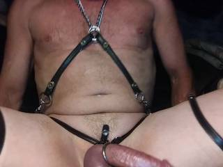 Made this harness so as the leather straps wrapped around my thighs and shaved cock tighten with my excitement . Now that I\'m all excited how would you take advantage of the results of my excitement for your own sexual enjoyment?
