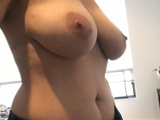 Just getting ready and liked the way my boobs looked... hope u do too....