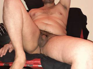 chilling naked on the chair my tiny soft cock wet with precum, do u like this view?