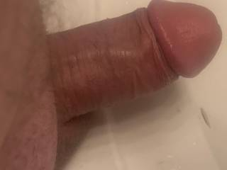 Hard dick with my balls on the vanity.