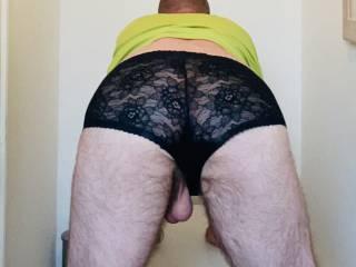 Bent over balls hanging