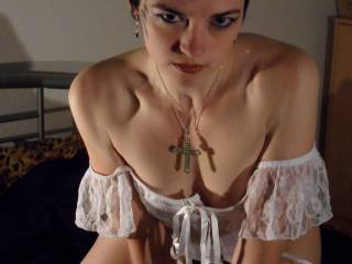 i so wanna fuck you senseless  rough and hard and cum all over you and in you hope you can handle it like that you hot lil fucking gothic cumslut