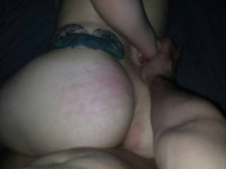 Holding her down after the spanking and going deep...