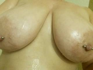 Your cock will glide between my oiled tits. Squeeze them tight and cum all over my chest.