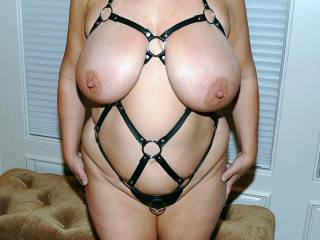big tits in harness out fit