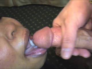 Allysa and Asia suck my cock. Giving Allysa a big mouthful of cum