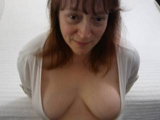 What are you thinking? I love my tits being sucked on. Would love for another man to ride my tits and shoot his load all over them. Don\'t worry about cleanup as Hubby will lick them clean for me. Now... Where\'s that cum?
